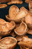 Olive wood bowls for sale in  Rome Italy Royalty Free Stock Photo