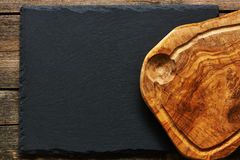 Olive wood cutting board Royalty Free Stock Image