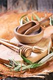 Olive wood kitchen utensil Stock Image