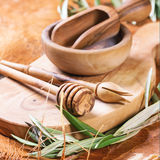 Olive wood kitchen utensil Stock Photography
