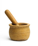 Olive Wood Mortar and Pestle Inside Stock Images