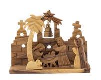 Olive wood nativity scene. Wooden christmas decoration souvenir form mid orient stock photo