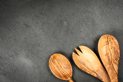Olive wood spoons Royalty Free Stock Images
