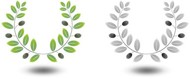 Olive Wreath. 3D looking wreaths with olives and olive leaves royalty free illustration