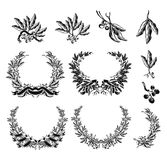 Olive Wreath, black set Royalty Free Stock Images