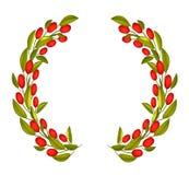 Olive Wreath o Olive Crown con frutta rossa Immagine Stock