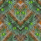 Olive wreathes greek vector 3d seamless pattern. stock illustration