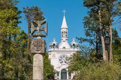 OLIVEIRA DE AZEMEIS, PORTUGAL - CIRCA MAY 2018: Exterior of the. La Salette church. Church inaugurated on September 19, 1880 in honor of our lady of la Salette royalty free stock photo