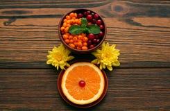 Olivello spinoso e mirtillo rosso con la foglia della menta vicino alla fetta di arancia e di crisantemo Immagini Stock