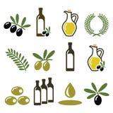 Olivenöl, Ölzweigikonen eingestellt lizenzfreie abbildung
