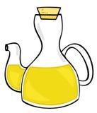 Olivenöl in der Glasflasche. Stockbild
