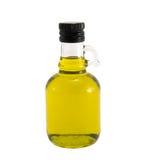 Olivenöl in der ursprünglichen Flasche auf einem Weiß Stockbild