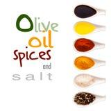 Olivenöl, Gewürze und Salz Stockbilder