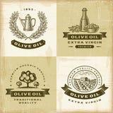 Olivenöl-Kennsatzfamilie der Weinlese stock abbildung
