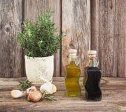 Olivenöl und Essig in den Flaschen mit Knoblauch und Rosmarin getont Lizenzfreie Stockfotos