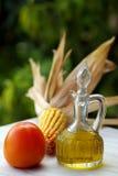 Olivenöl und Essig und Frui stockbild
