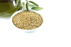 Olivenöl und Oregano Stockbild