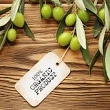 Olivenölaufkleber Lizenzfreie Stockfotografie