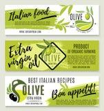 Olivenölfahnenschablone stellte mit grüner Niederlassung ein stock abbildung
