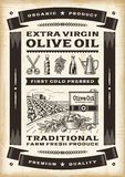 Olivenölplakat der Weinlese Lizenzfreies Stockfoto