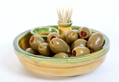 Oliven in einer Platte Lizenzfreies Stockbild