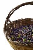 Oliven im Korb Stockfotografie