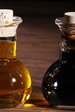 Oliven oil and balsamico. In a glass carafe royalty free stock image