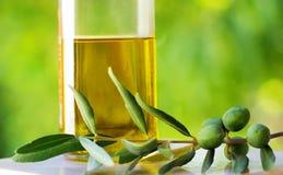 Oliven und Ölivenöl. lizenzfreie stockfotos