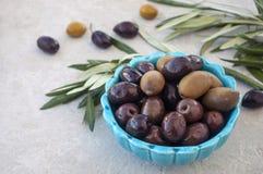 Oliven und grüner Brunch in einer blauen Schüssel auf einem weißen Hintergrund Stockbilder