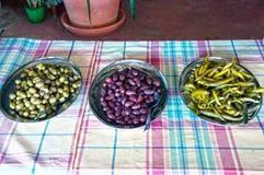 Oliven und Pfeffer Lizenzfreie Stockbilder