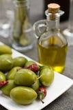 Oliven und Schmieröl Stockbild
