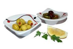 Oliven und Zitrone Stockfoto