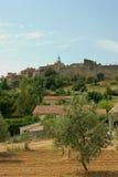 Olivenbaum und ein französisches Dorf Lizenzfreie Stockfotografie