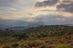 Olivenbaumobstgärten in Sierra Nevada -Bergen mit dem dunklen Bedrohen bewölkt sich stockfotos