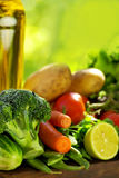 Oliveoil and vegetables. Stock Image