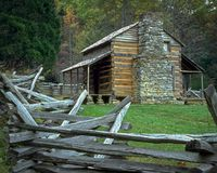 Oliver Cabin in Cades cove, Tennessee royalty free stock image