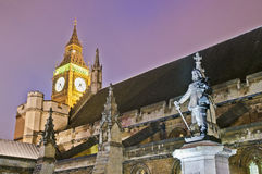Oliver Cromwell statue at London, England Stock Photography