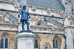Oliver Cromwell statue at London, England Royalty Free Stock Images