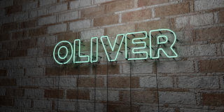 OLIVER - Glowing Neon Sign on stonework wall - 3D rendered royalty free stock illustration Royalty Free Stock Photo