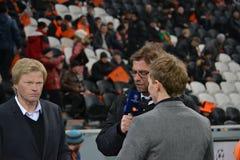 Oliver Kahn, Jurgen Klopp intervjuas Fotografering för Bildbyråer