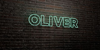 OLIVER -Realistic Neon Sign on Brick Wall background - 3D rendered royalty free stock image Stock Photography