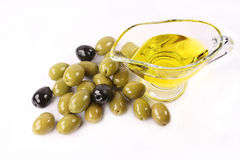 Olives. Black and green olives on white background Stock Photography
