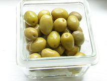 Olives. In a glas box Royalty Free Stock Photos