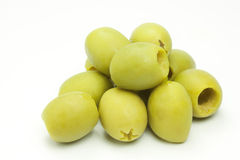 Olives. Green olives on white background Royalty Free Stock Photo