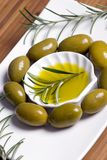 Olives 3. A decorative tray of olives brighten up the dinner table Stock Image
