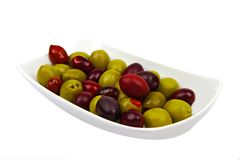 Olives. Bowl of mixed olives: it's very healthy idea for a party times Stock Photo