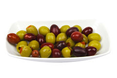 Olives. Bowl of mixed olives: it's very healthy idea for a party times Stock Photography