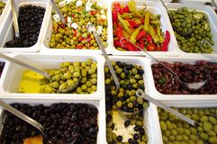 Olives. Variations of several olives antipasti Royalty Free Stock Image