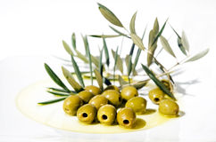 Free Olives And Olive Oil On Plate Stock Image - 3007071