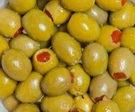 Olives Background. Fresh olives in oil macro Stock Image